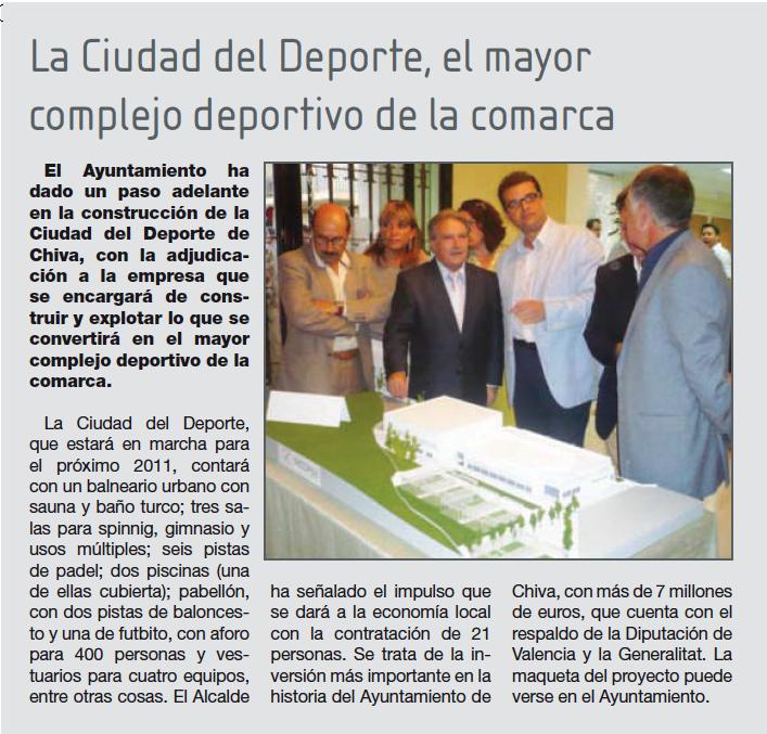 En septiembre del 2009, ya estaba todo claro... ¡La ciudad del deporte acabada en el 2011!