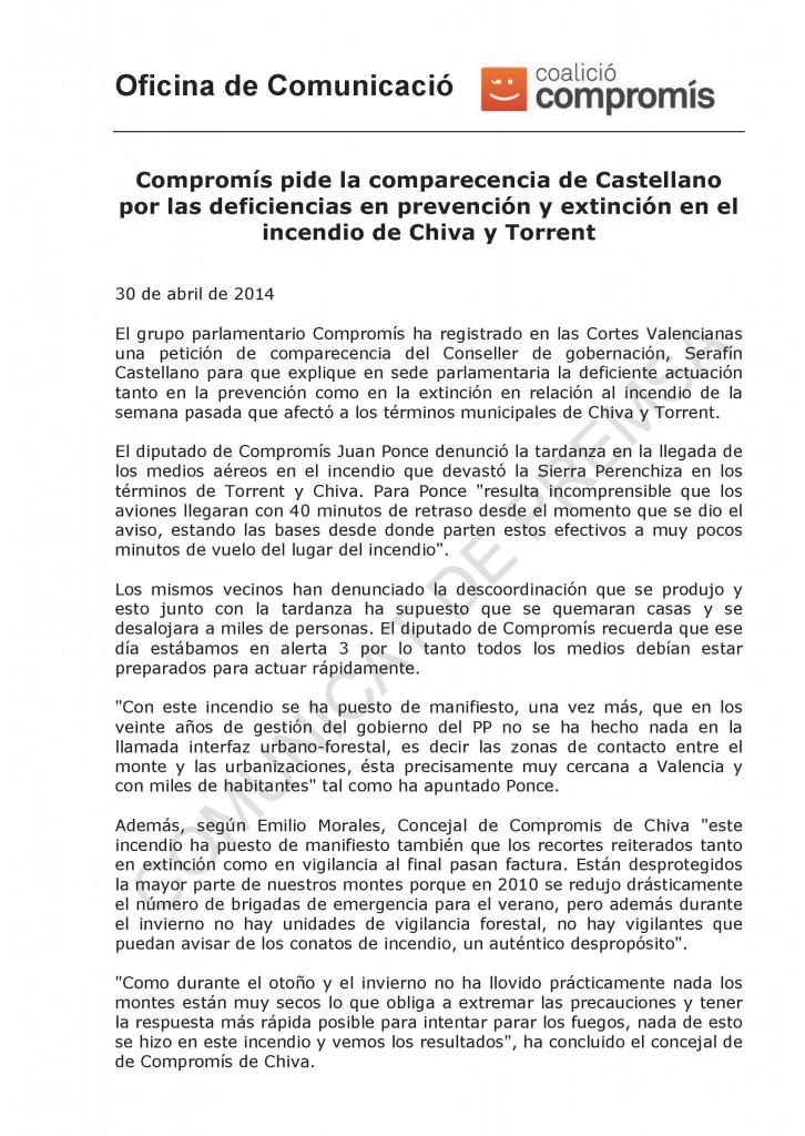 NOTA - Comparecencia conseller incendio Chiva